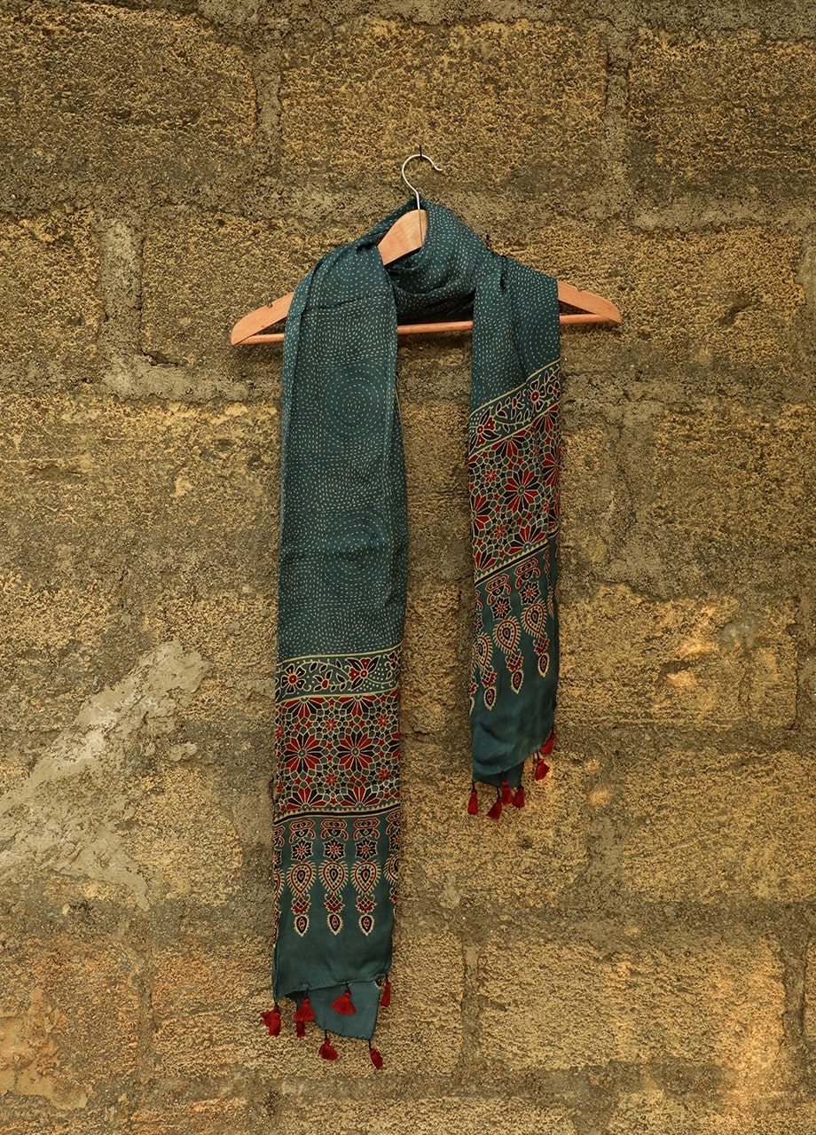 Modal Silk Ajrakh Hand Block Print Stole