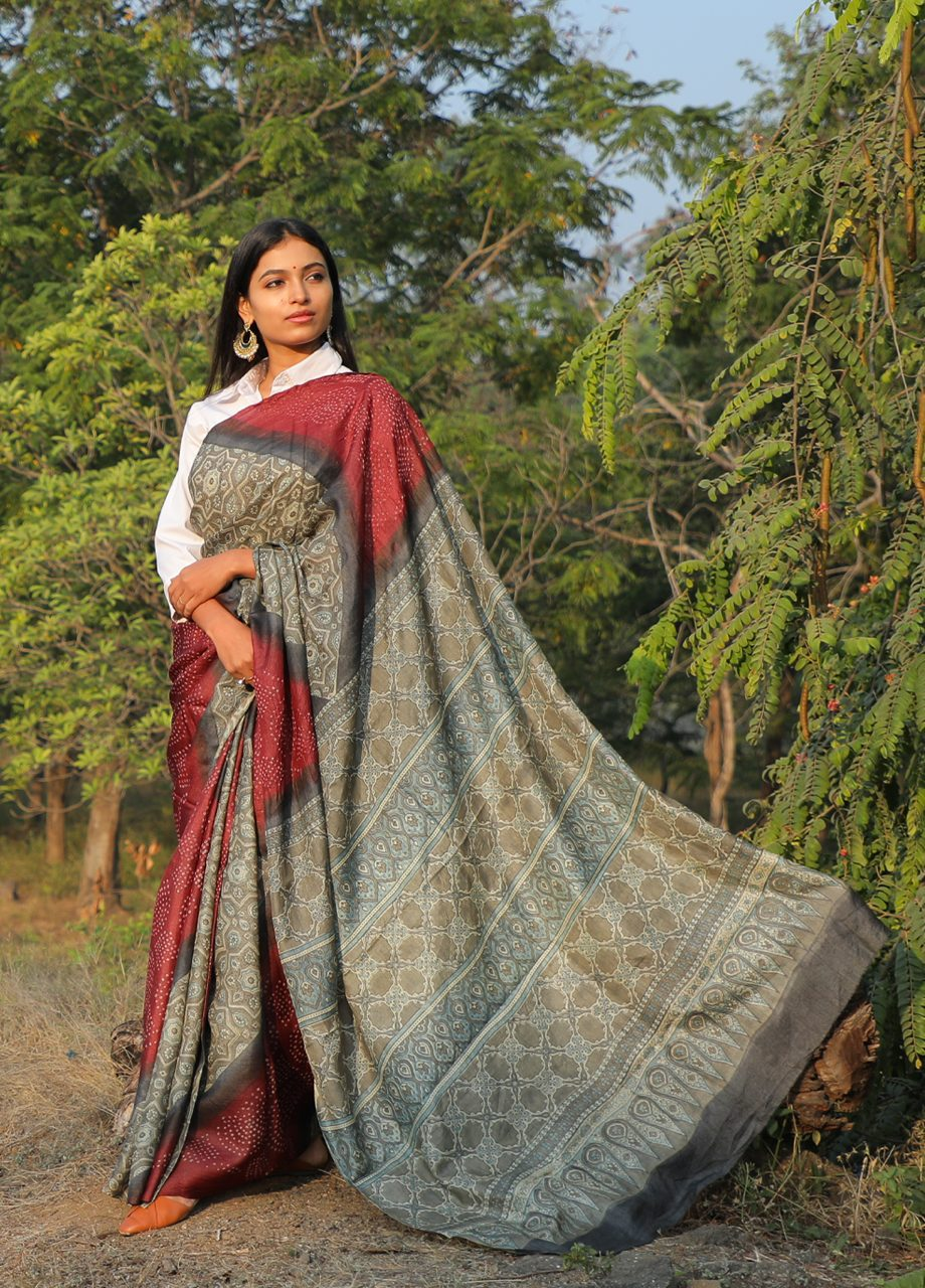 Tussar Silk Ajrkah bandhni together Saree