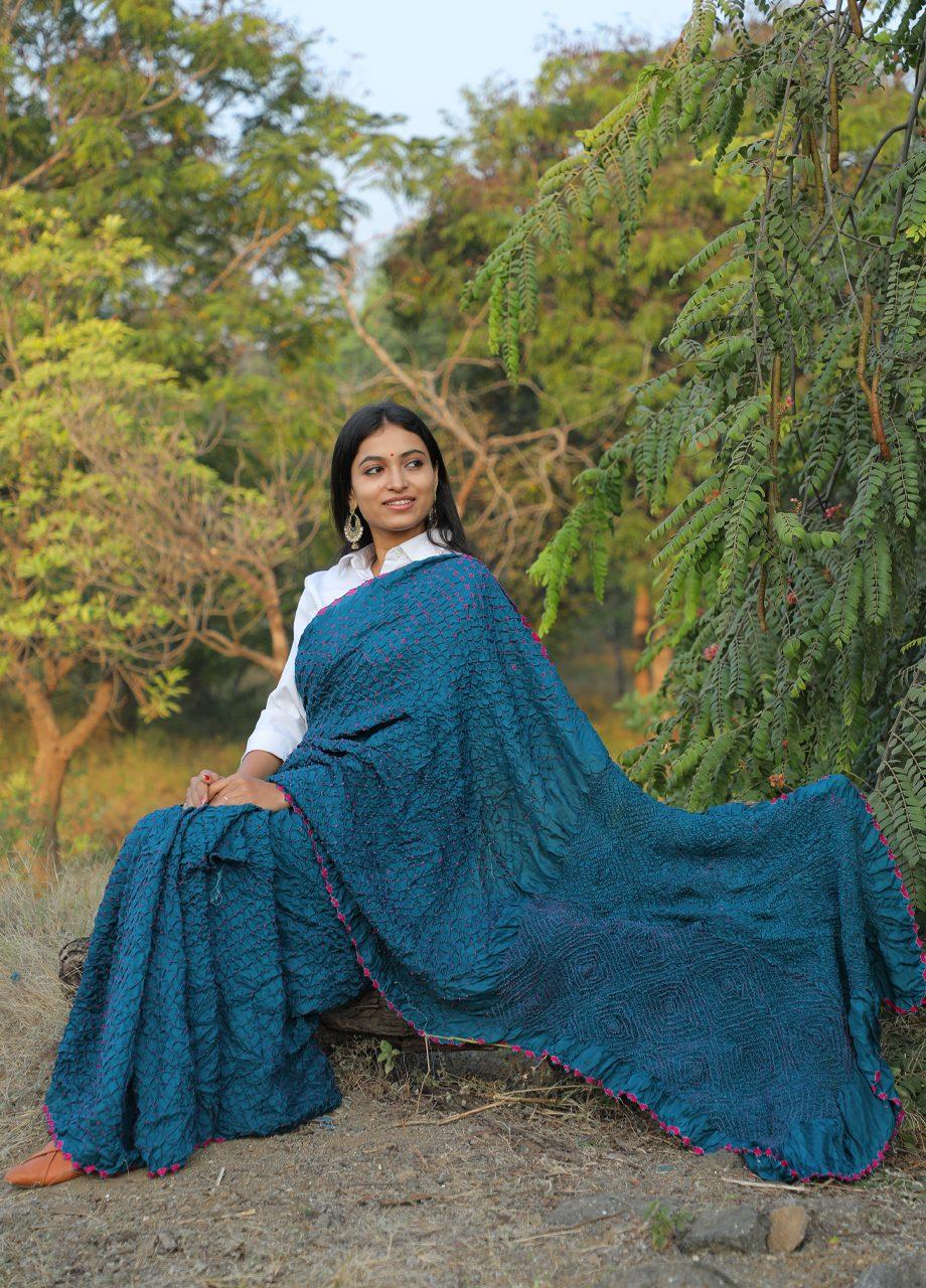 Banglore Silk Bandhni Saree