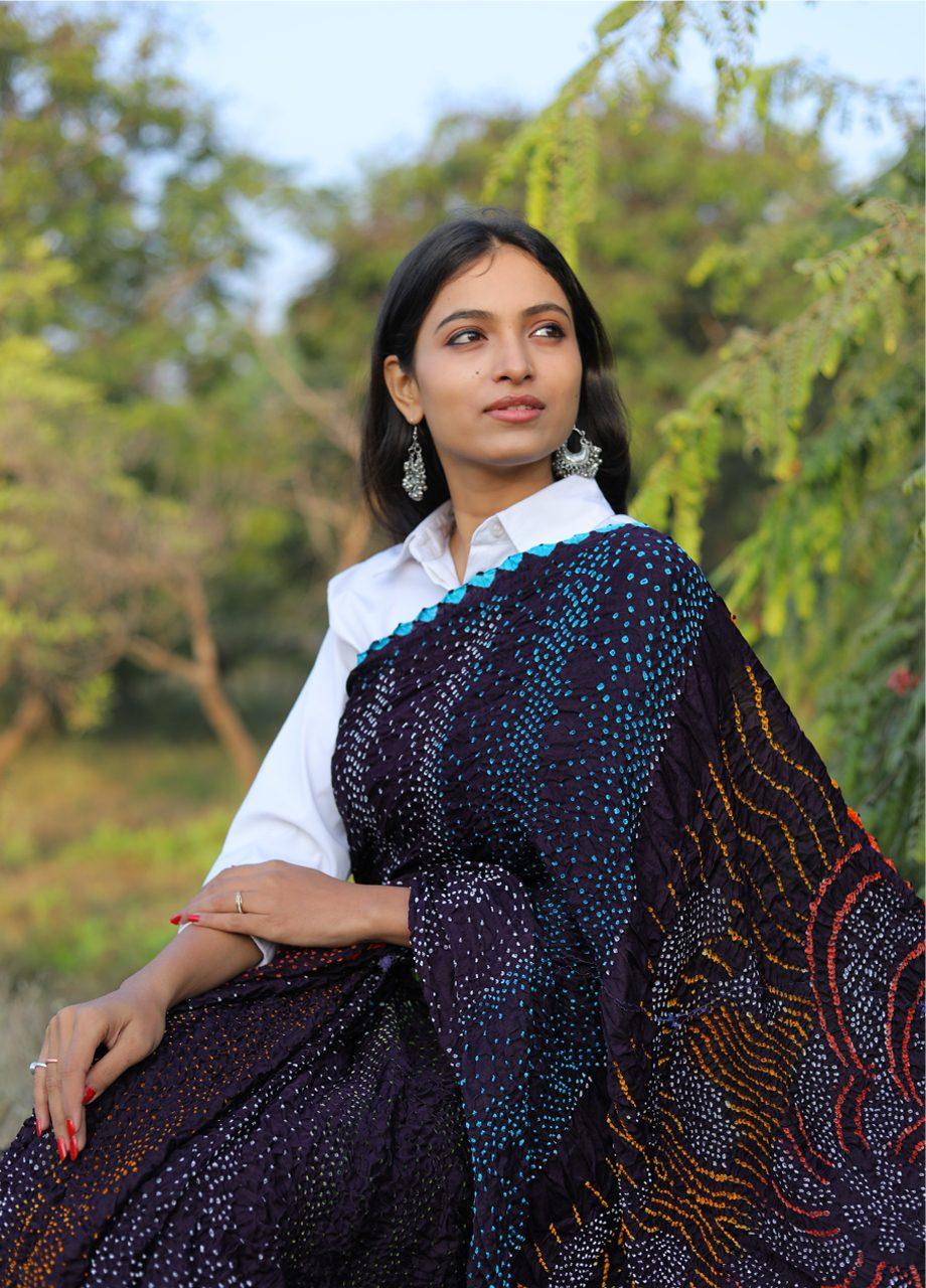 Gajji Silk Bandhni Saree – Multicolour Bandhej