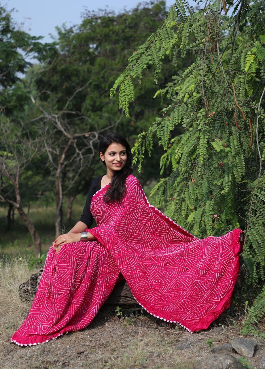 Gajji Silk Bandhni Saree