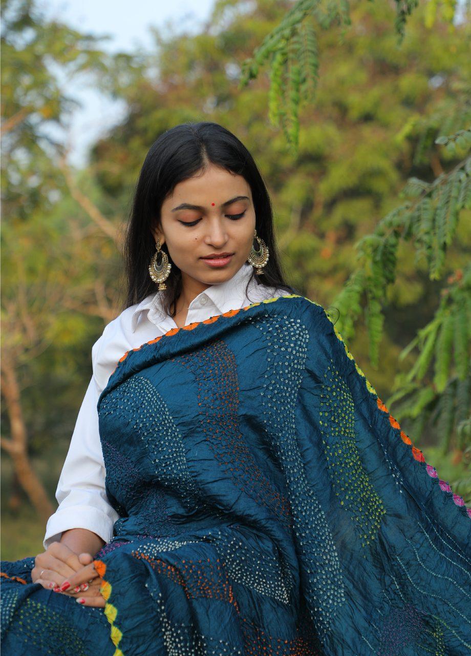 Mugha Silk Bandhni Saree – Multicolour Bandhej