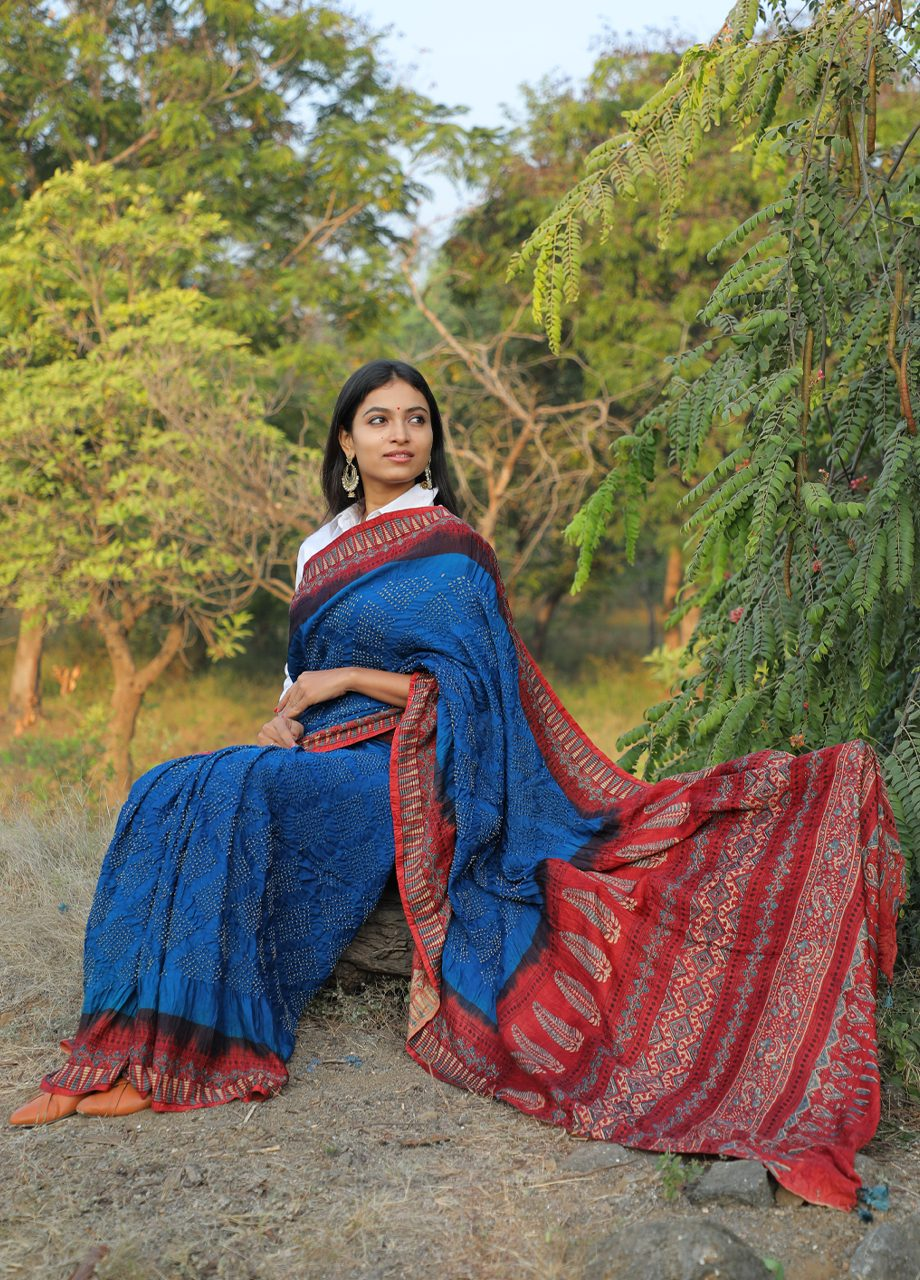Gajj Silk Ajrkah bandhni together Saree