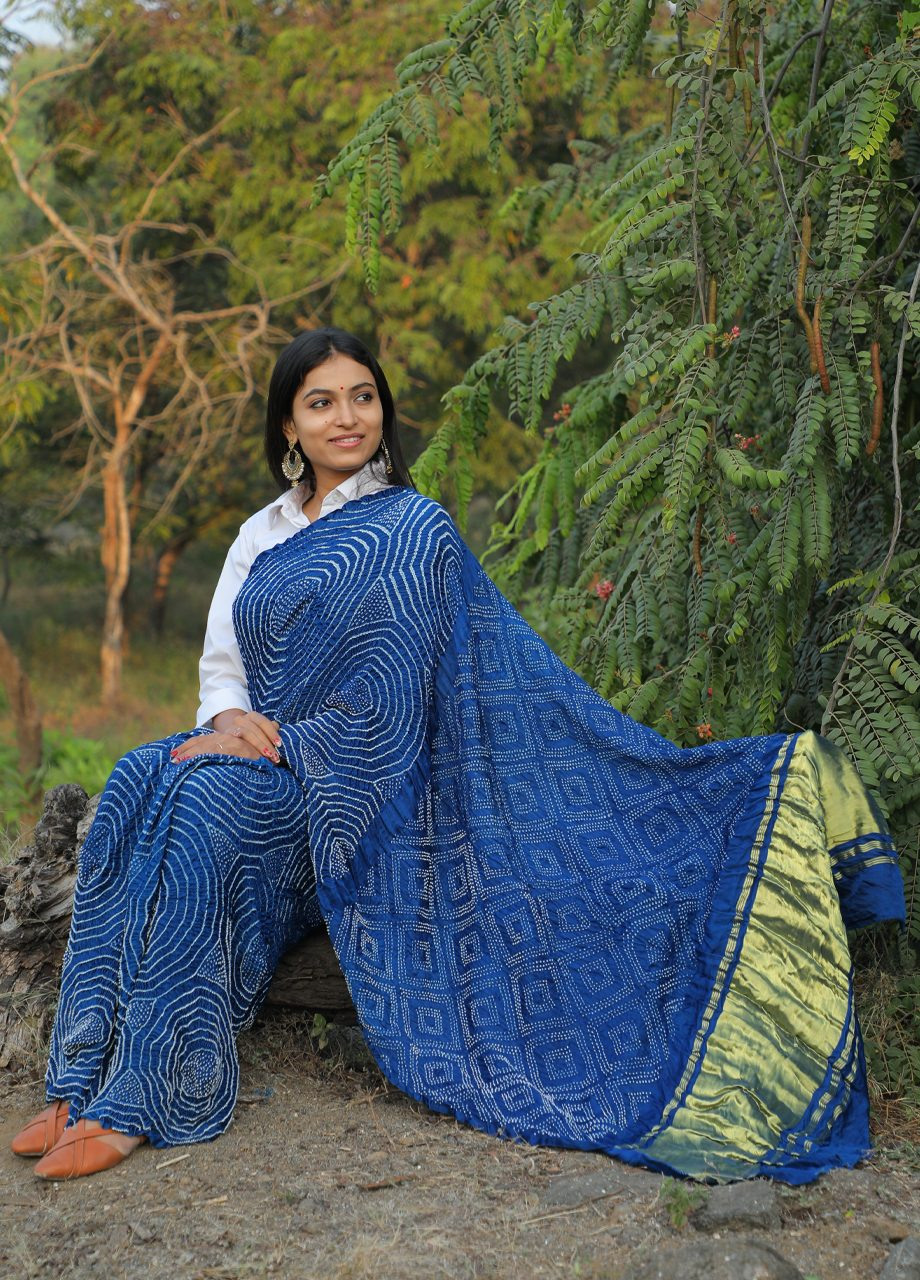 Gajji Silk Bandhni saree with tissu pallu