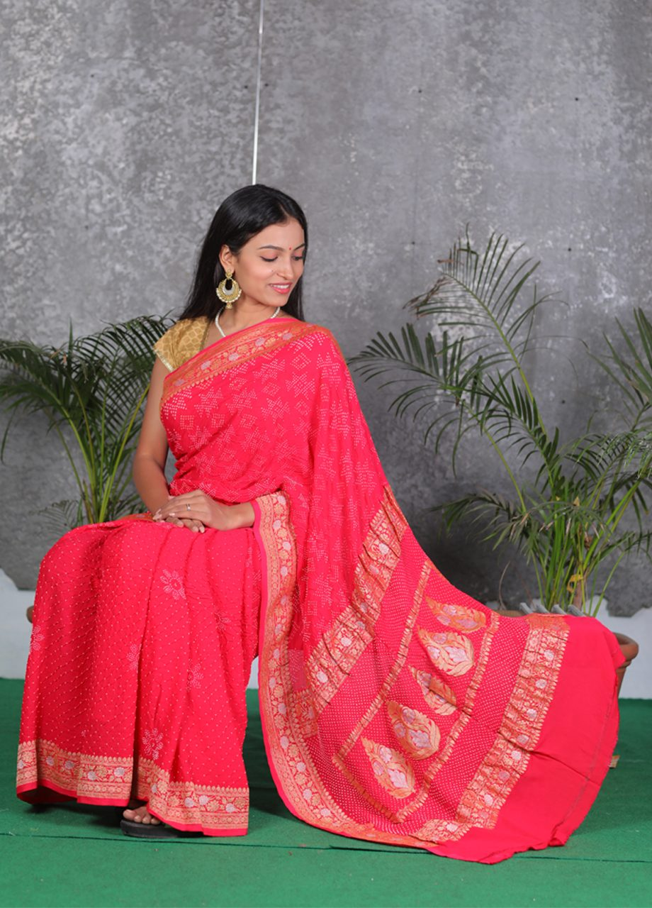 Georgette Bandhni ith Banarasi Exclusive Saree