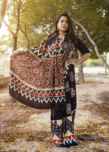 Khadi Silk Ajrakh Hand Block Print Saree
