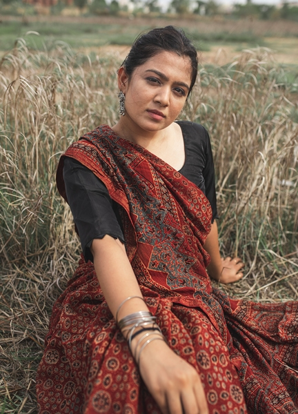 Maheshwari Silk Ajrakh Hand Block Print Saree