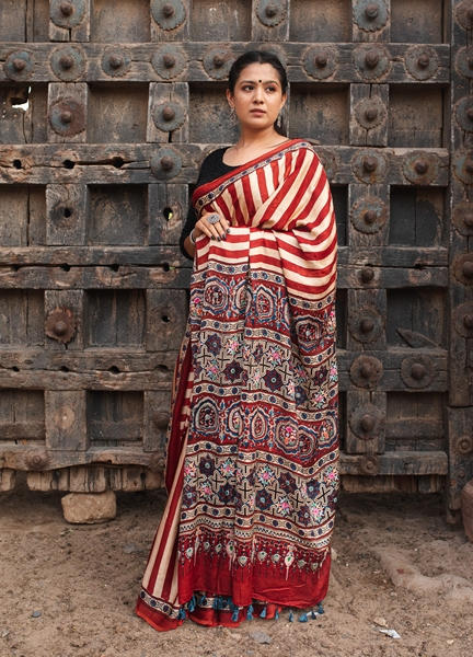 Moda silK Ajrakh Saree with Hand Embroidery