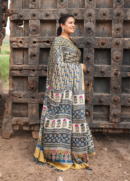 Moda silK Ajrakh Saree with Hand Embroidery