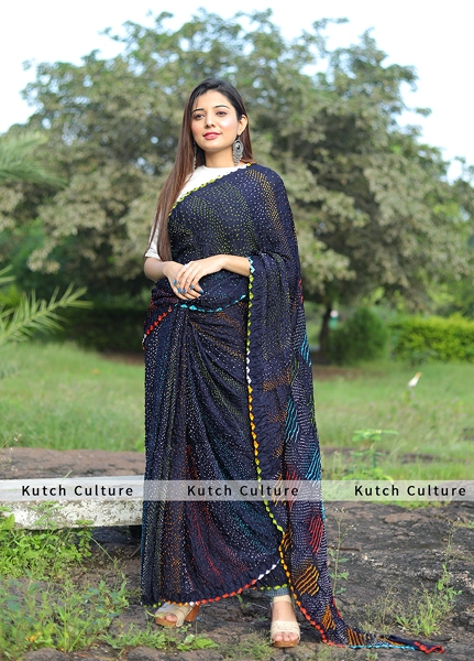 Gajji Silk multicolor bandhej saree