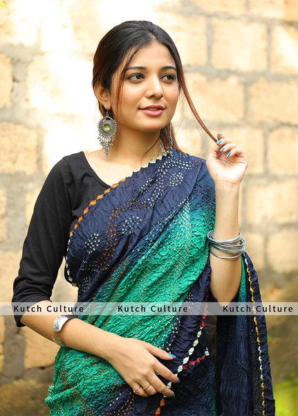 Mugha Silk multicolor bandhej Shaded saree