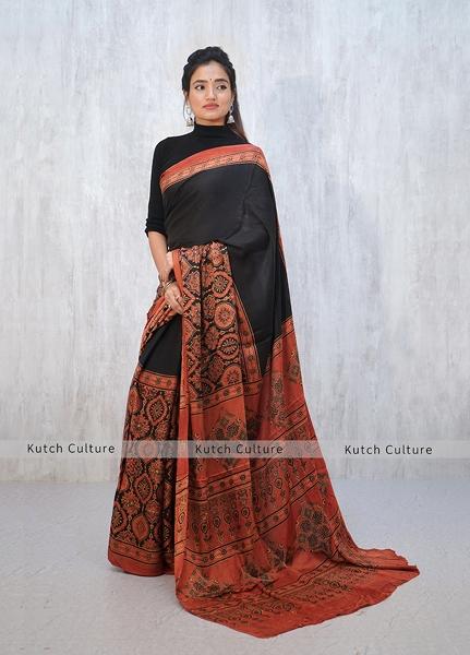 Modal Silk Ajrakh Hand Block Print Saree