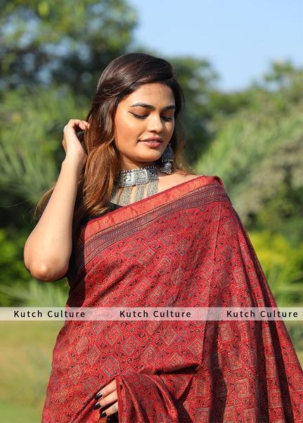 Tussar Silk Ajrakh Hand Block Print Saree