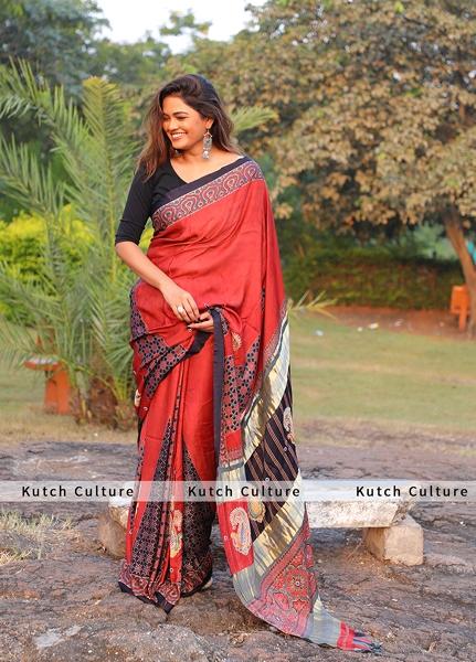 Gajji silK Ajrakh Saree with Hand Embroidery