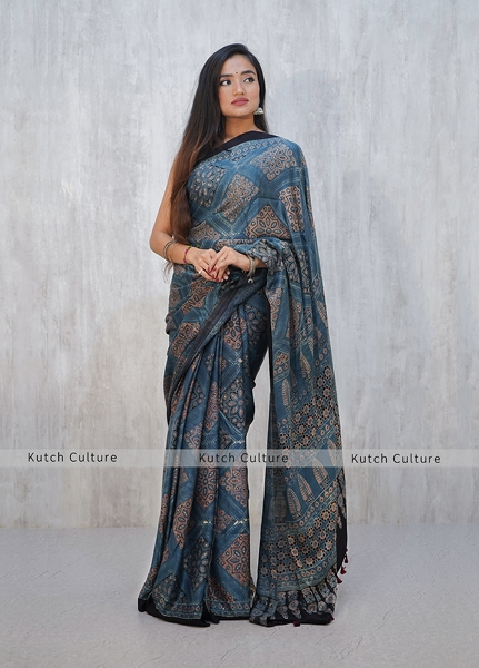 Gajji Silk Ajrakh hand block print saree