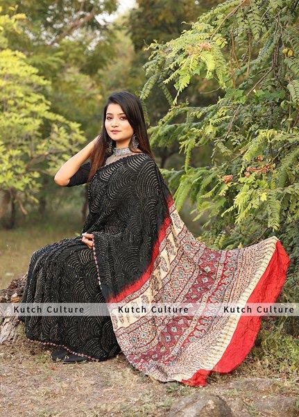 Sangini Gajji Silk Ajrakh Bandhni together Saree
